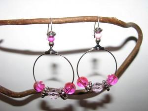Boucles d'oreilles créoles roses img_1932-300x225